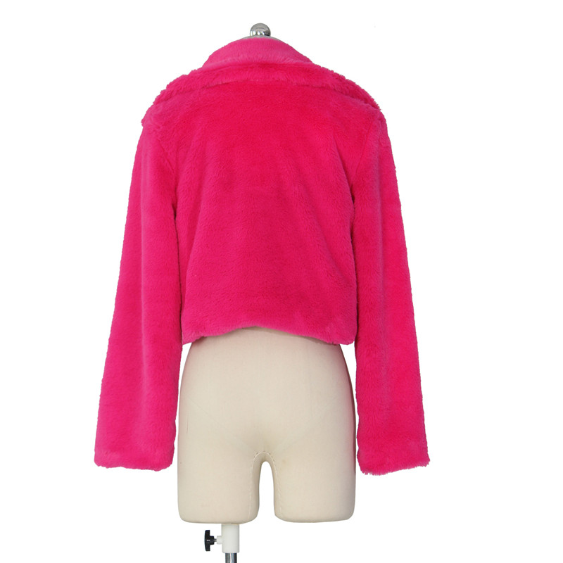 autumn winter faux fur coat short jacket-4