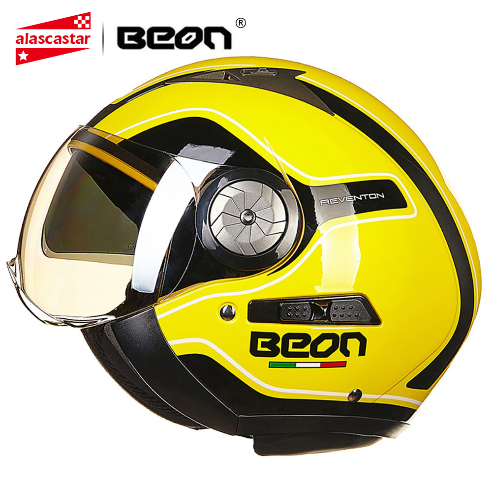 BEON Motorcycle Helmet 3/4 Open Face Motorbike Moto Casco Capacete Vintage Retro Biker Scooter Moto Helmet Double Visor стоимость