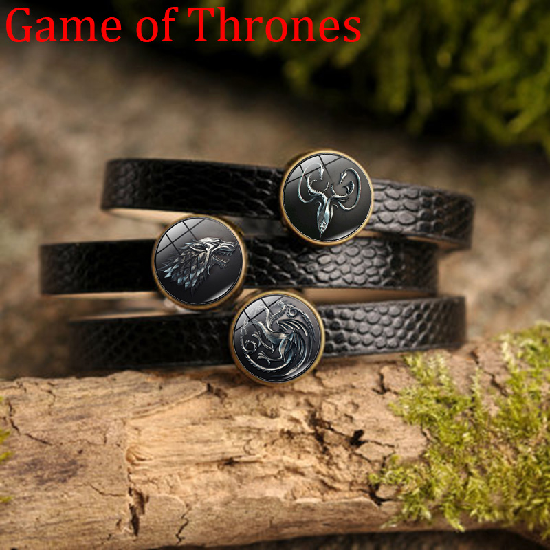 Charm Bracelets Game Of Thrones Charm Bracelet House Stark Wolf Art Glass Cabochon Jewelry Black Pu Leather Bracelet Men Women Wristbands Attractive And Durable