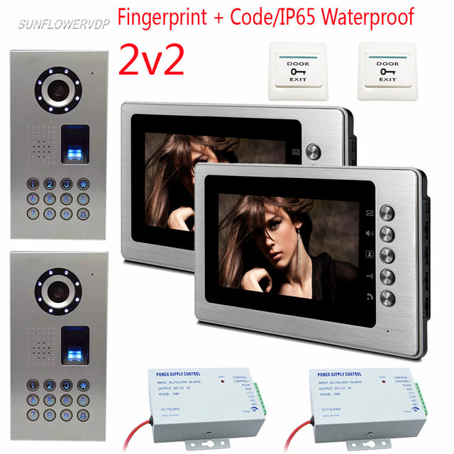 2v2 Fingerprint Pword Video Doorphones Ip65 Waterproof Home Phones 2 Metal Color Monitors 7 Intercom