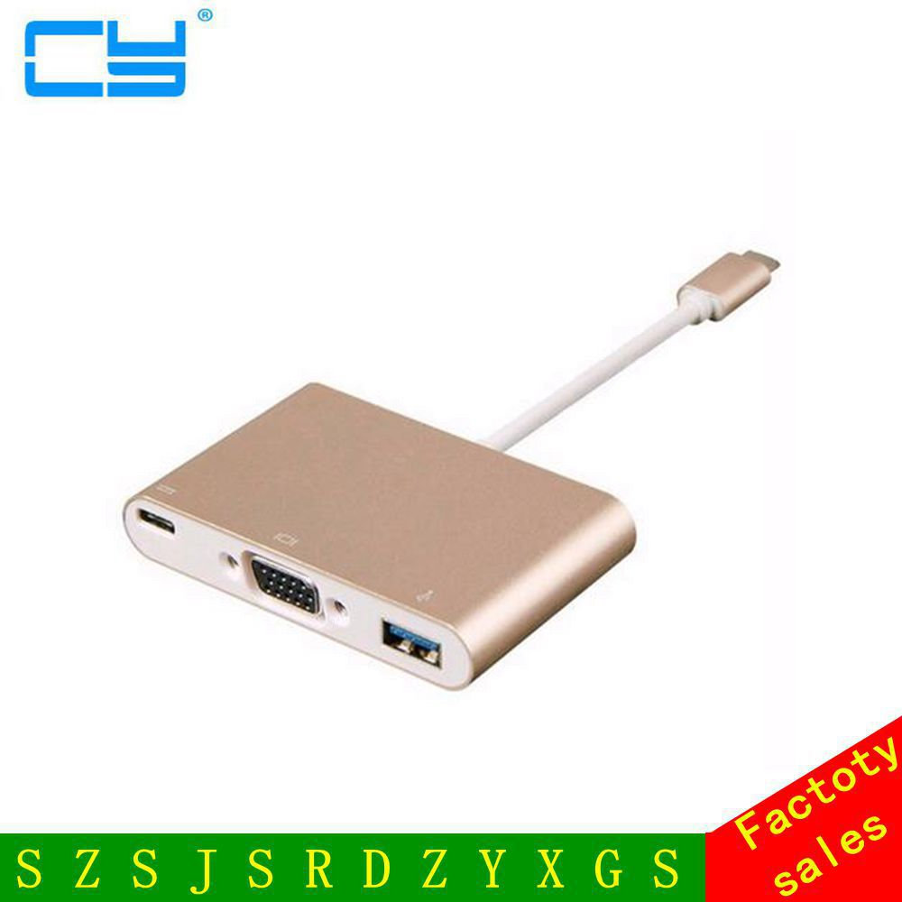 Type C USB 3.1 to VGA Converter Adapter 3 in 1 HDMI HUB Charge for MacBook 12 Free Shipping tracking number 4 in 1 usb c hub adapter usb 3 1 type c to hdmi 4k gigabit ethernet rj45 port usb 3 0 usb 3 1 converter for macbook laptop