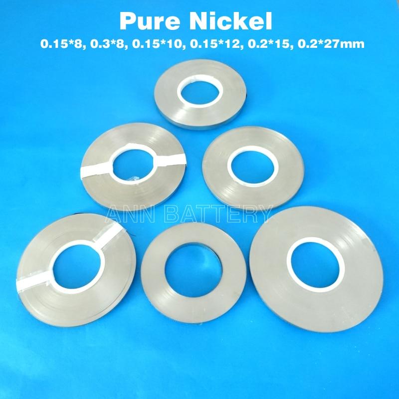 18650 Lithium ion batterie nickel bande 0.15*8/0.3*8/0.15*10/0.15*12/0.2*15/0.2*27mm nickel pur bande li-ion batterie nickel ceinture