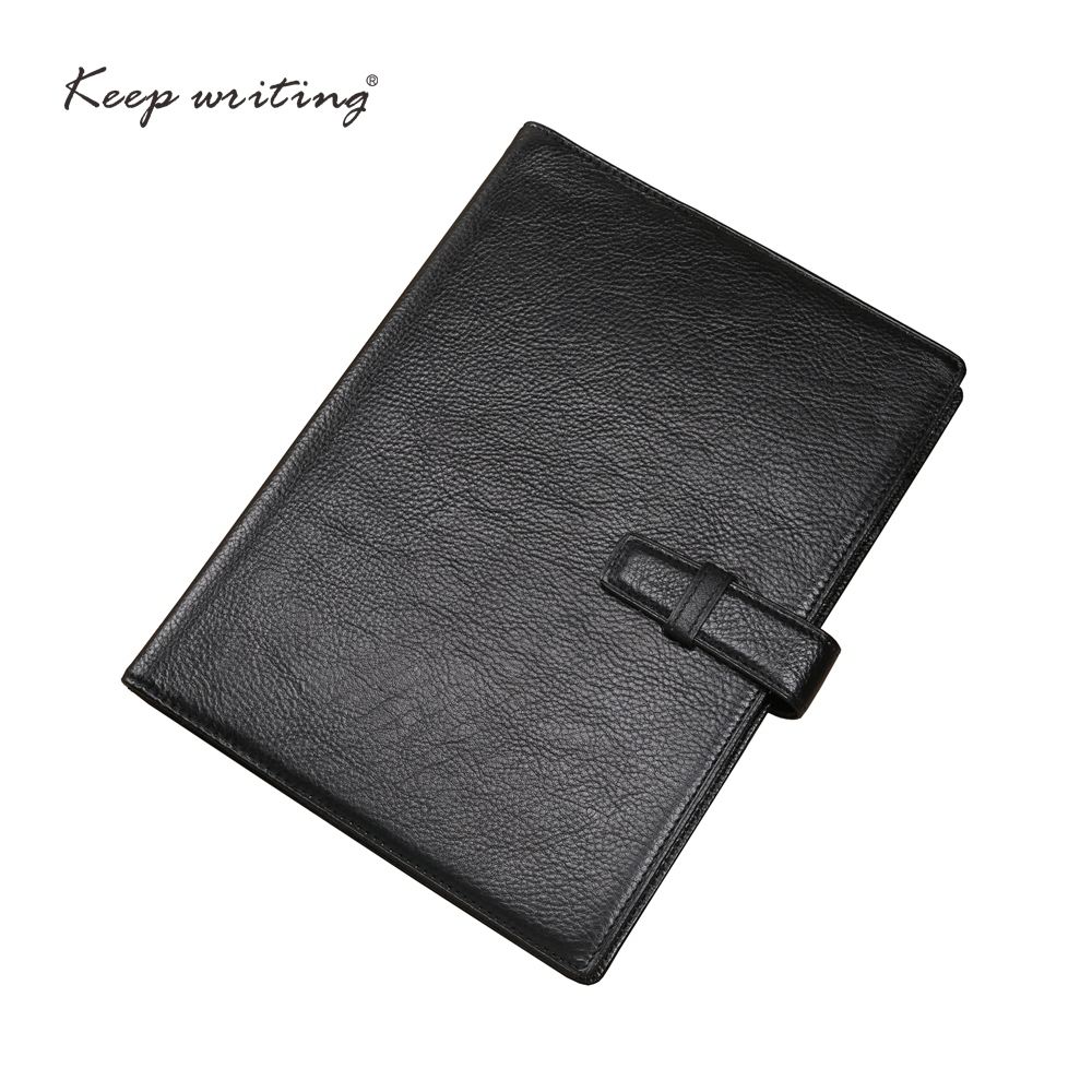 A5 Cowhide Leather NOTEBOOK 45 sheets <font><b>100gsm</b></font> <font><b>paper</b></font> lined pages stationery agenda Journal notes real leather book BLACK notepad image