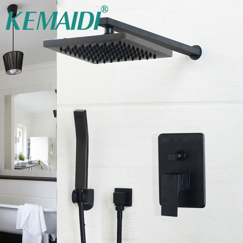 цены KEMAIDI 8/10/12 inch Black Head & Hand Shower Sets Bathroom Rainfall shower faucet Luxury Black Wall Mounted Sets