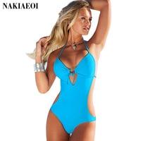 Thong One Piece Swimsuit Solid Women Swimwear Halter Top Bandage High Waist Bathing Suit Backless Brazilian