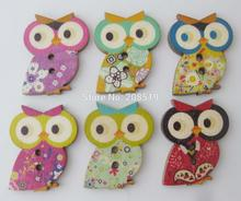 WBNAAE Animal buttons Owl shape various colors 150pcs Nature wood crafts accessories