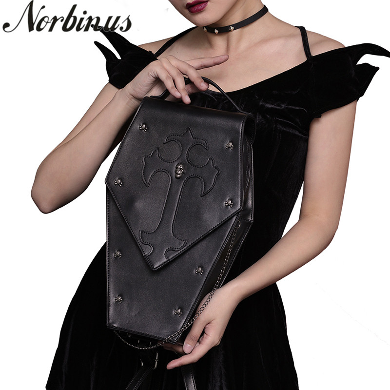 Norbinus Steampunk Single Shoulder Bags Vintage Women Handbags Gothic Messenger Crossbody Bag Ladies Rivet Top Handle