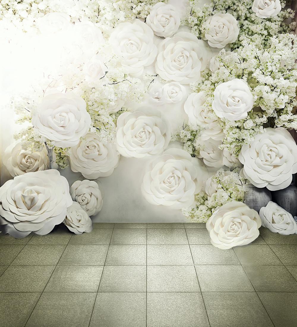 Wedding Flower Background: Digital Printed 3D White Roses Background For Photo Studio