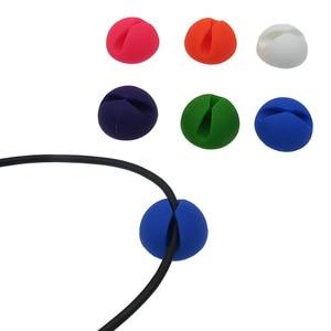 Image 1 - Yuvarlak kablo tutucu koruyucu yönetim cihazı organizatör bitirme masaüstü fiş silikon tel tutma klipleri güç kablosu sarıcı