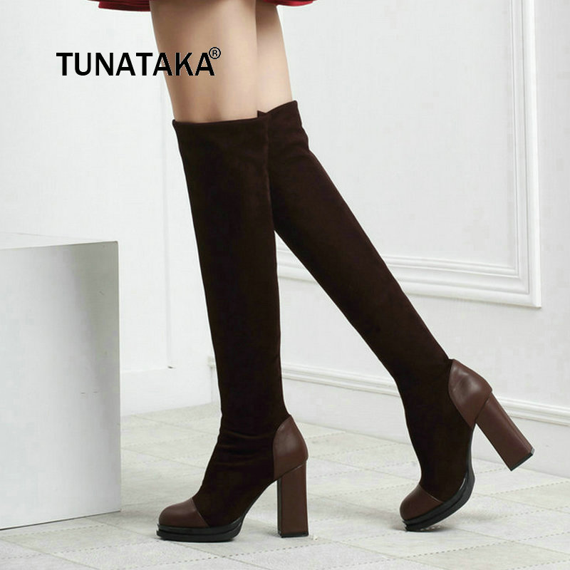 Ladies Slip On Thick High Heel Elastic Thigh Boots Fashion Platform Pointed Toe Over The Knee Boots Black Red Brown