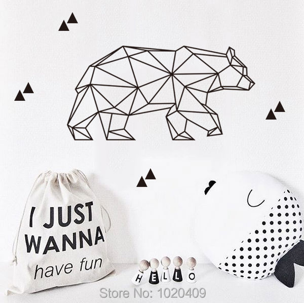 High-quality children products Nordic ins exclusive custom geometry bear sticker dot pattern green PVC wall stickers