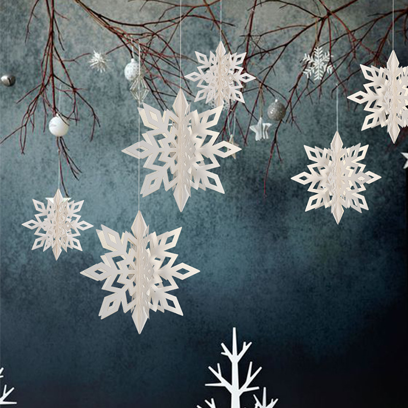 Frozen Party Christmas Snowflakes Decorations 3D Hollow Snowflake Paper Garlands Ornament Fake Snow Winter Decorations For Home