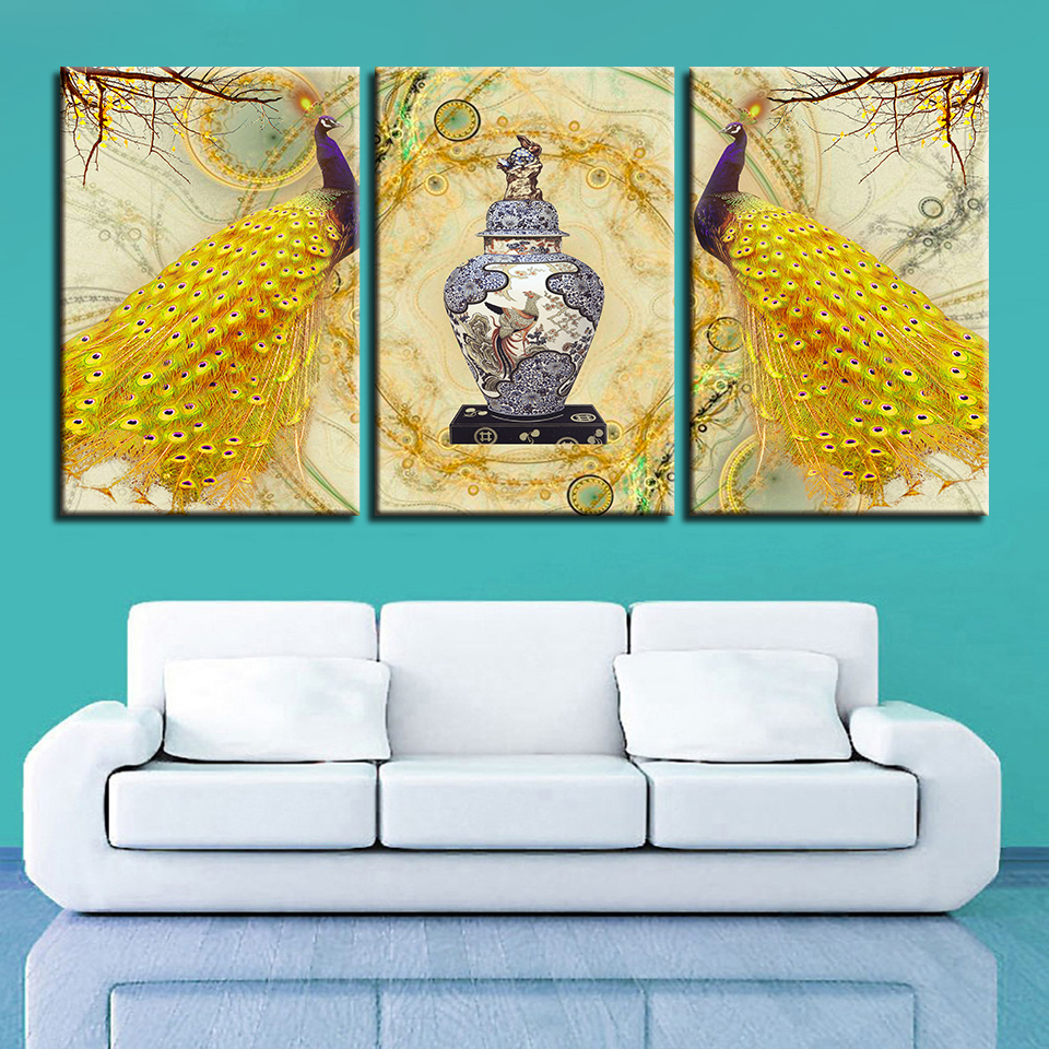 Canvas HD Prints Poster Wall Art Picture Frame 3 Panels Golden ...