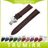 Genuine Leather Watch Band Butterfly Buckle Strap 18mm 20mm 22mm 24mm Universal Wrist Belt Bracelet Black