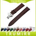 Butterfly venda de reloj de cuero genuino correa de hebilla 18mm 20mm 22mm 24mm universal de pulsera pulsera de la correa negro azul blanco rojo marrón