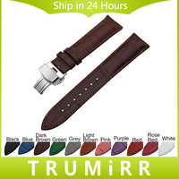 Genuine Leather Watch Band Butterfly Buckle Strap 18mm 20mm 22mm 24mm Universal Wrist Belt Bracelet Black