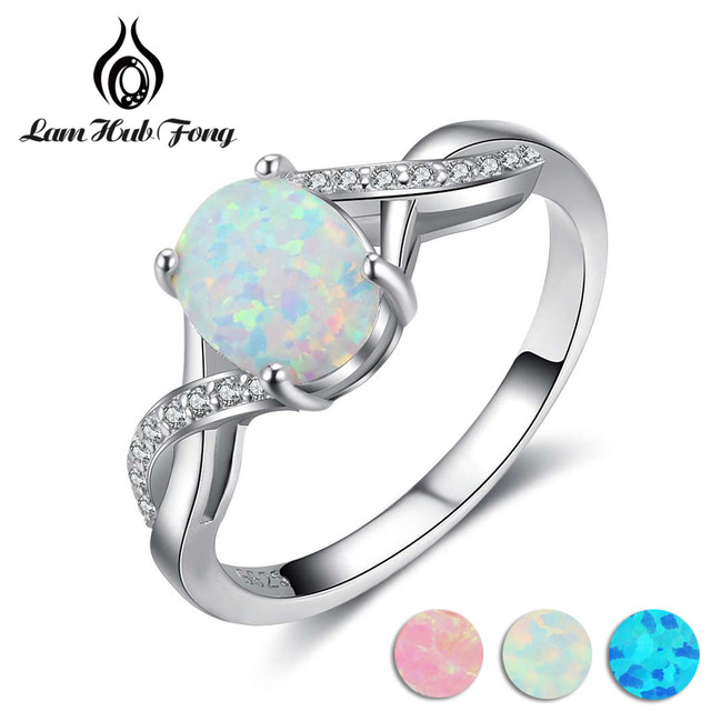 925 Sterling Silver Created Oval Blue Pink White Opal Ring Women Cubic Zirconia
