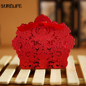 Image 3 - 100PCS Laser Cut Hollow Lace Flower White/Gold/Red Candy Box Luxury Wedding Party Sweets Candy Gift Favour Favors Boxes