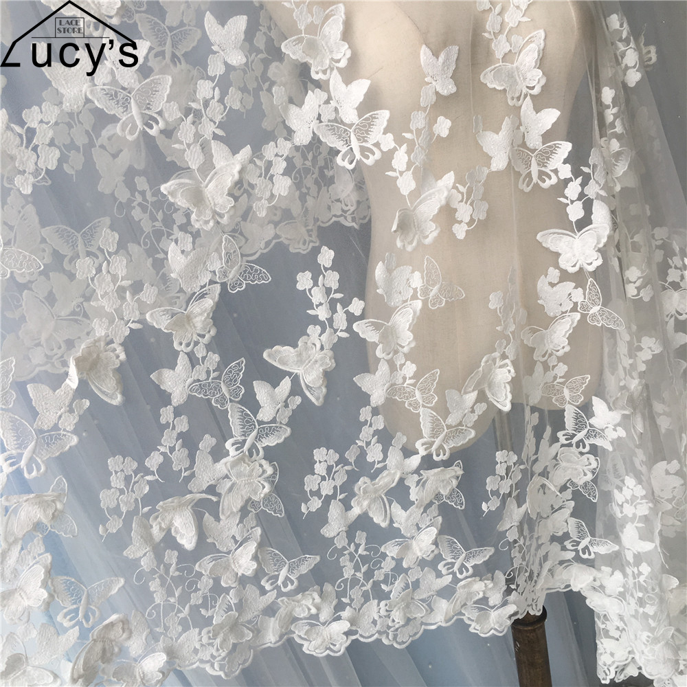 2017 NEW 3d butterfly lace fabric Off white tulle mesh embroidered lady garment sewing lace 1 Yard!2017 NEW 3d butterfly lace fabric Off white tulle mesh embroidered lady garment sewing lace 1 Yard!