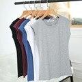 Marca de Moda Verão Mulheres Casual t-shirt de Algodão de Manga Curta Sólidos O-neck Tee Tops t shirt Roupas 5 Cor das Mulheres