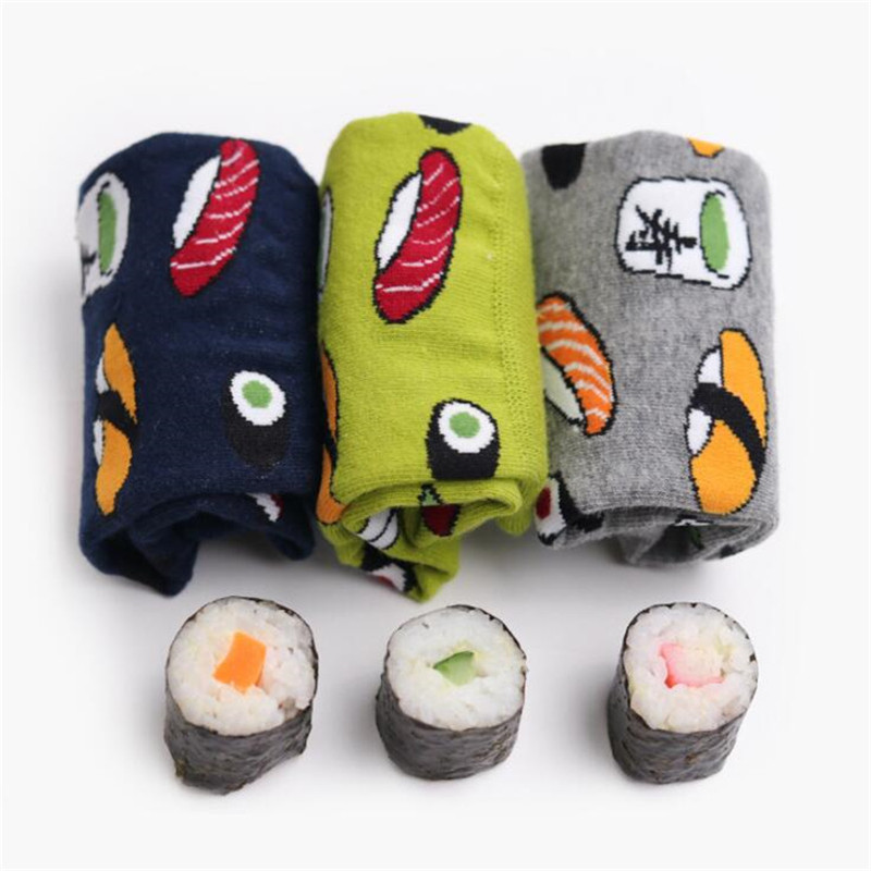 Harajuku Funny Sushi Socks Japanese Creative Cartoon Crew Socks Women Novelty Calcetines Mujer Sokken Female Girl Cute Socks