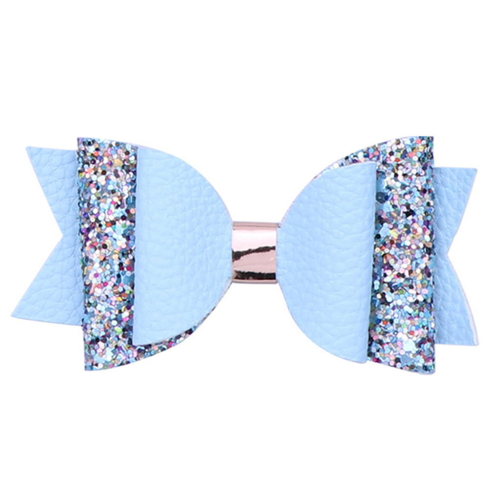 Fashion Glitter Laser Leather Hair Clips with Bows for Girls Kids Boutique Sequins Hairpins Solid Children Gift Hair Accessories in Hair Accessories from Mother Kids