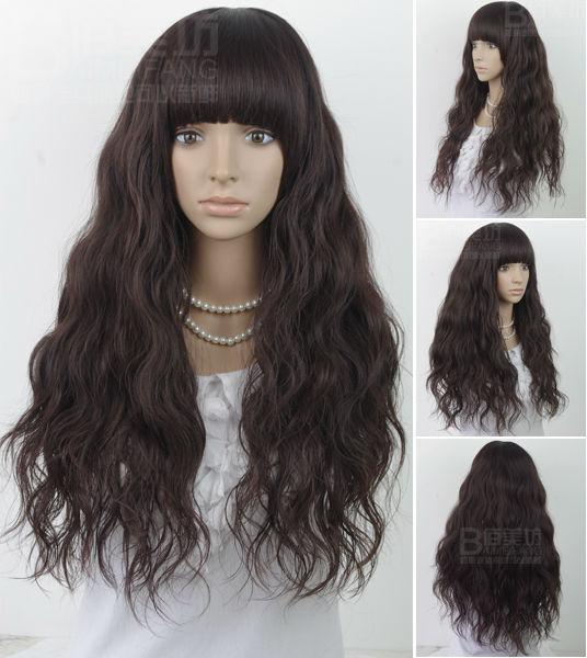 supernova sale! wholesale/Retail,Lady's Light/Dark Brown Curly Long kinky curly wigs with Bangs/human hair Brazilian Virgin Wig