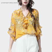 Women Golden Floral Chiffon Ruffle Blouse Pearl Buttons V Neck Butterfly Sleeve Top Fashion 2019 New Plus Size 4XL Summer Blusa