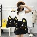 Novo design de moda grande código gato lindo impressão mãe das mulheres da menina de família instalado verão fina solta colete vestido fino
