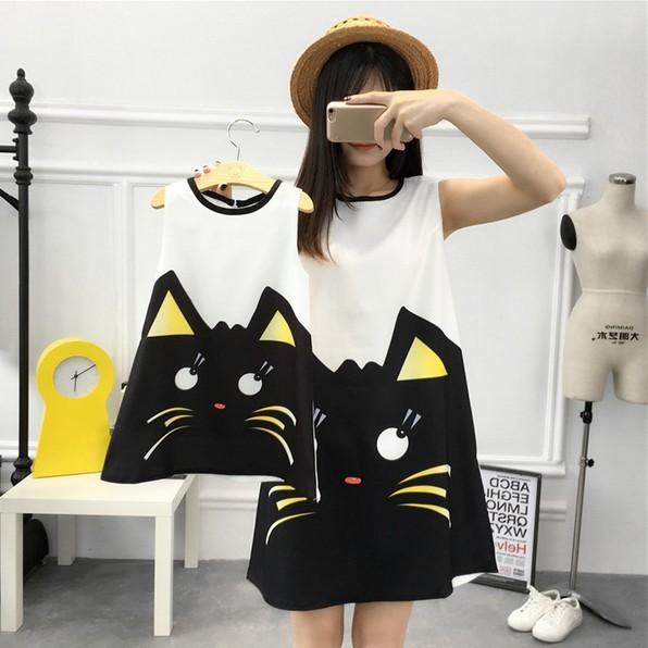 Nuevo diseño de moda de gran código de impresión gato encantador madre mujeres chica familia instalado verano delgada floja del chaleco del vestido delgado