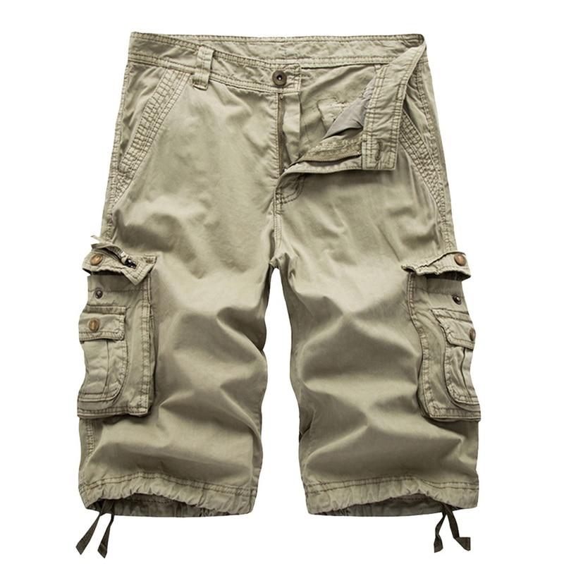 MJARTORIA Cargo-Shorts Loose Multi-Pocket Military Knee-Length Plus-Size Summer Camo