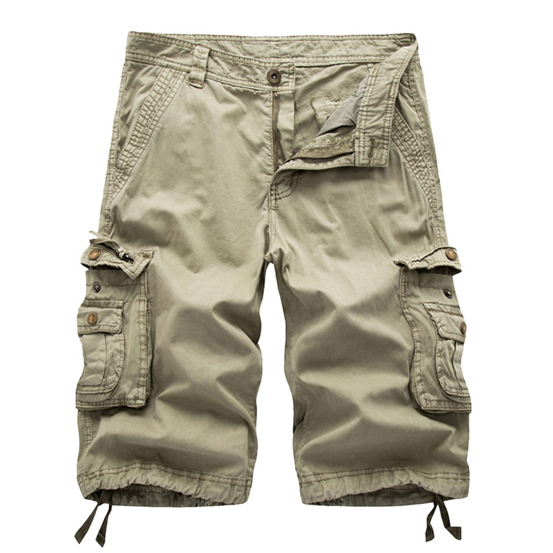 MJARTORIA Multi-pocket Men Cargo   Shorts   Casual Loose   Short   Pants Solid Camo Military Summer Knee Length Plus Size   Shorts