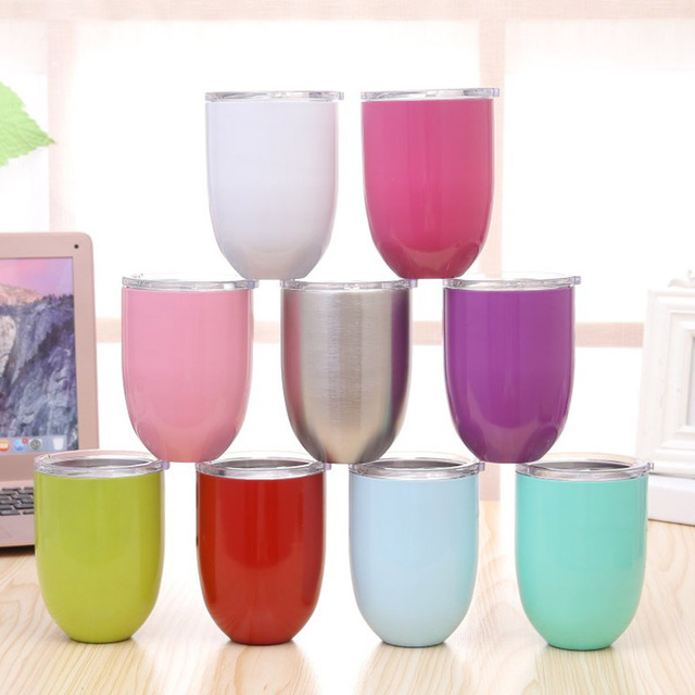 a950a46555e 10oz Wine Glass Double Wall Insulated Metal Stainless Steel With Lid Tumbler  Wine Mugs