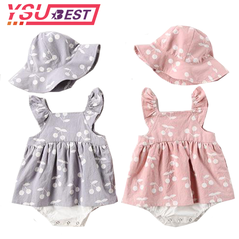 2019 Baby   Rompers   New Summer Clothes Fashion Cute Cherry Prints Baby Jumpsuit Kids Clothing   Rompers   Newborn With Hat Jumpsuits