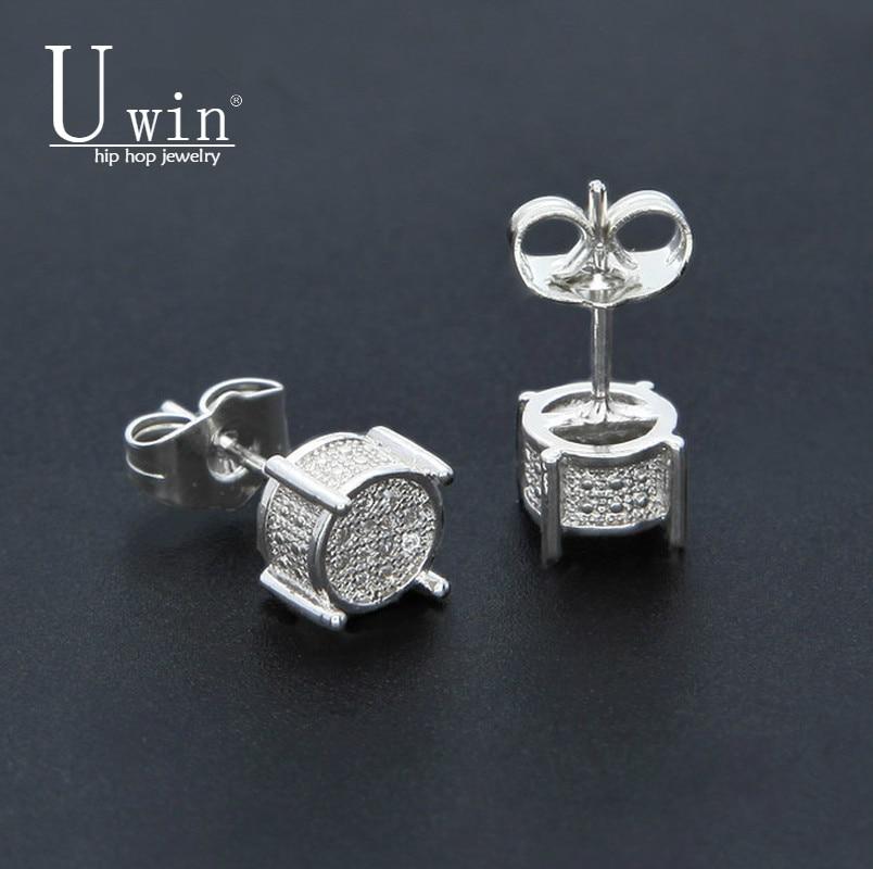 UWIN Hip hop Men Silver Earring Shining Full Zircon Round Stud Earrings Women Trendy Jewelry 9mmx9mm