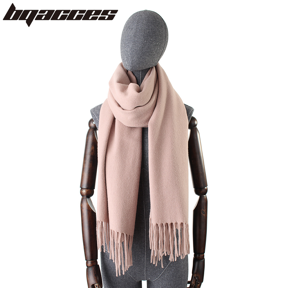 [BQACCES] Solid Color Plain 100% Cashmere Scarves with Tassel Women Winter Thick Warm Scarf Shawl Luxury High Quality 200cm*70cm
