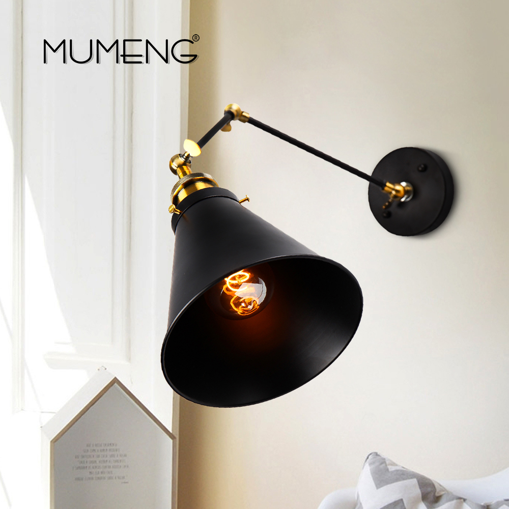 Lamps & Shades Orderly Mumeng E27 Edison Retro Wall Lamp Swing Arm Plated Loft Antique Vintage Wall Light Industrial Indoor Home Lighting Fixtures Exquisite Traditional Embroidery Art Lights & Lighting