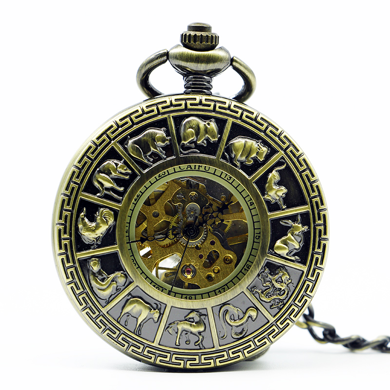 Best Sales Hollow Roman Bronze Animals Mechanical Pocket Watch For Men Women With Chain Free Drop Shipping PJX1231