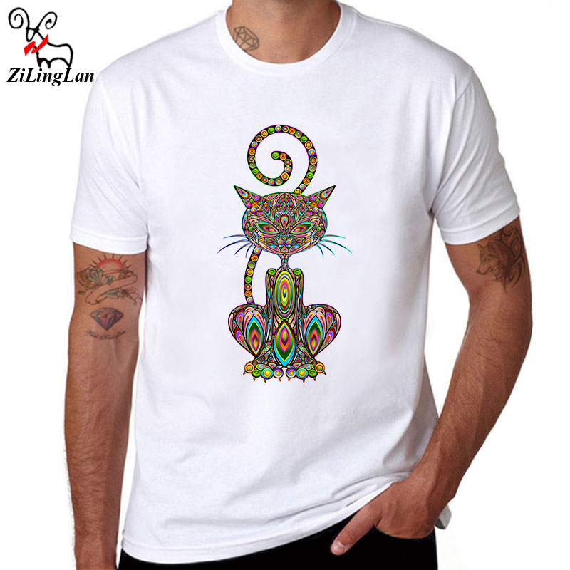 Zilinglan Brand Cool Cat Design Hipster T Shirts