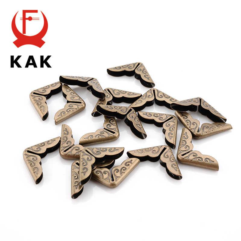 Protetores de canto kak, 100 pçs 15x15x3mm, livro de metal, antigo, para scrapbooking, álbuns menus bronze tom ferragens