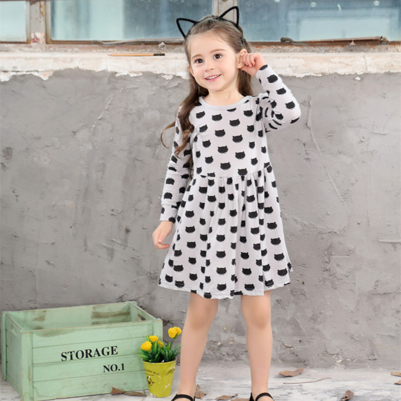 Winter Autumn Spring Girl Dress Animal Print Kids Clothes 2017 Fashion Long Sleeve Cotton Toddler Girls Casual Children Clothing 2017 autumn girl long sleeves dress fashion baby casual kids cotton dress print rainbow 3 8 year old children s clothing lh6010