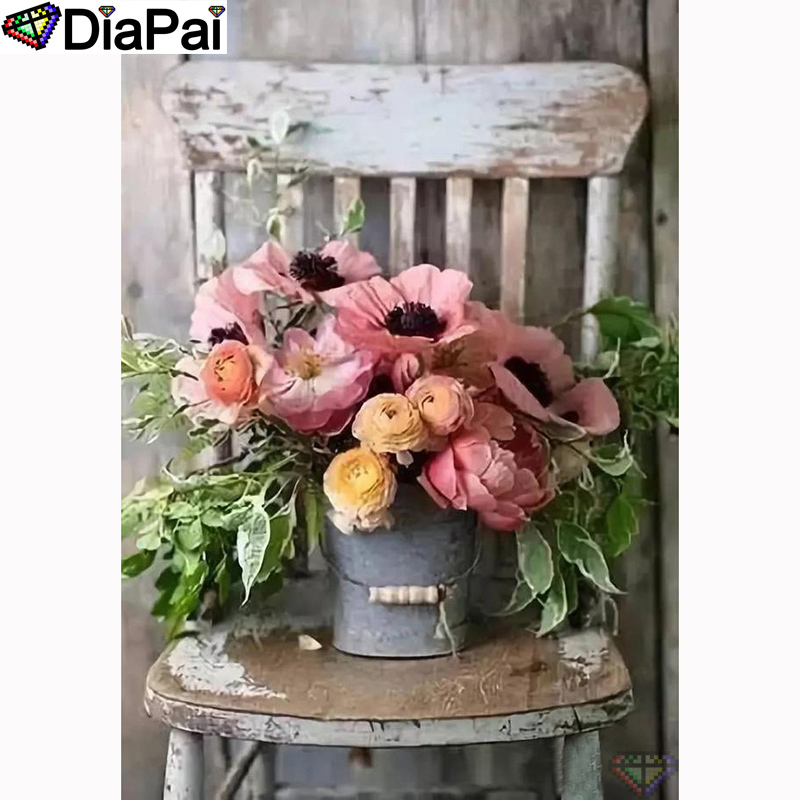 DIAPAI 5D DIY Flower-Chair Diamond Embroidery 3d-Decor Cross-Stitch Painting-100%Full-Square/round-Drill