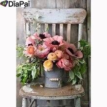 """DIAPAI полная квадратная/круглая дрель 5D DIY Алмазная картина """"Цветочный стул"""" Алмазная вышивка крестиком 3D декор A21561"""