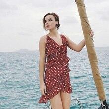 цены на New Red Ruffles A-line Tank Polka Dot Dress Women Sexy Deep V-neck Summer Dress 2019 Bohemian Beach Dress Ladies Sundress XXL  в интернет-магазинах