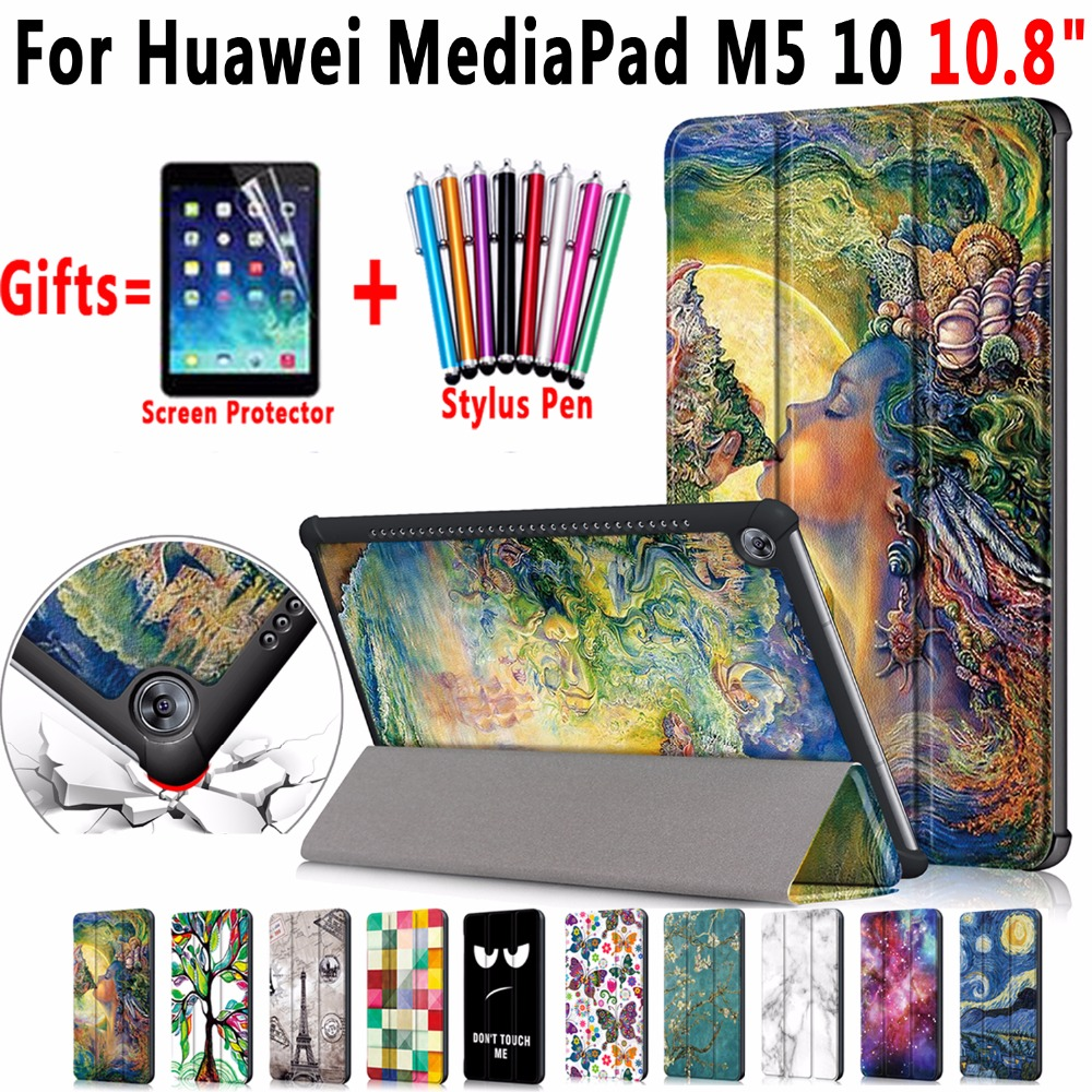 Famous Painting Magnetic Leather Smart Auto Sleep Awake Case Cover for Huawei MediaPad M5 10 10.8 inch CMR-AL09 CMR-W09 Pro Case silicone with bracket flat case for huawei mediapad m5 8 4 inch