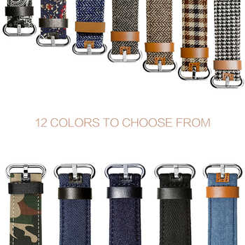 Fashion Style Watchbands for Apple Watch 5 Band 38mm 40mm 42mm 44mm Leather/Fabric Denim Strap Apple iWatch Strap Series 1 2 3 4
