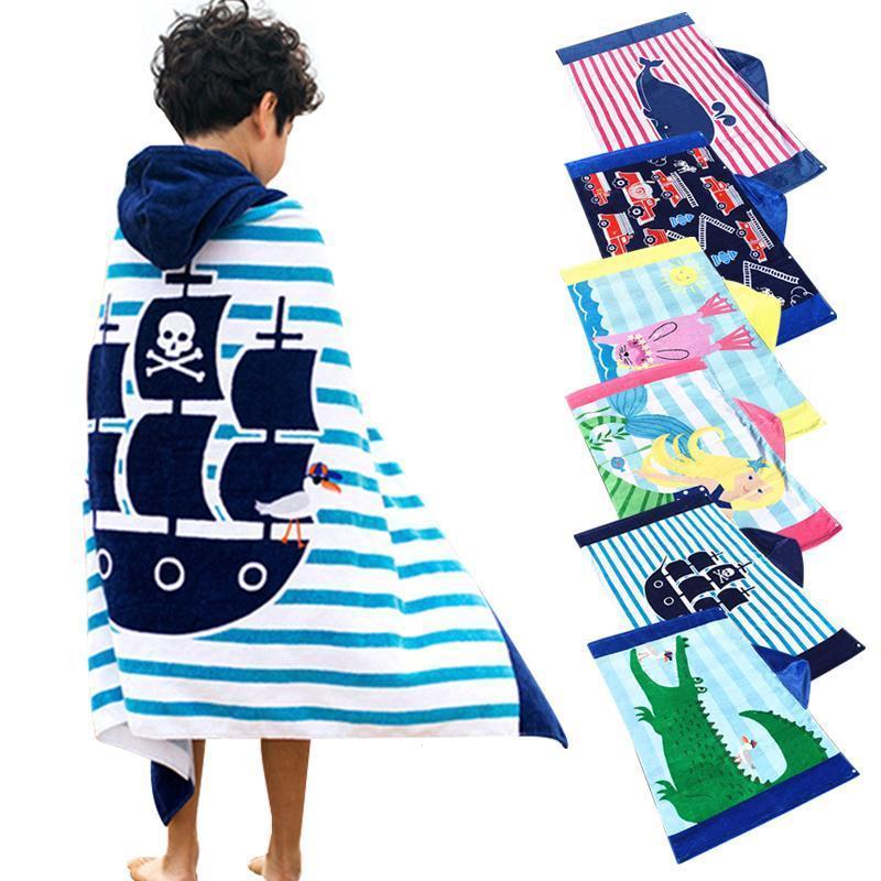 цена на Baby Cotton Printed Beach Towel Children Hooded 76cm Bath Towel Baby Boys Girls Cartoon Bath Soft Towel for Baby Gifts B4