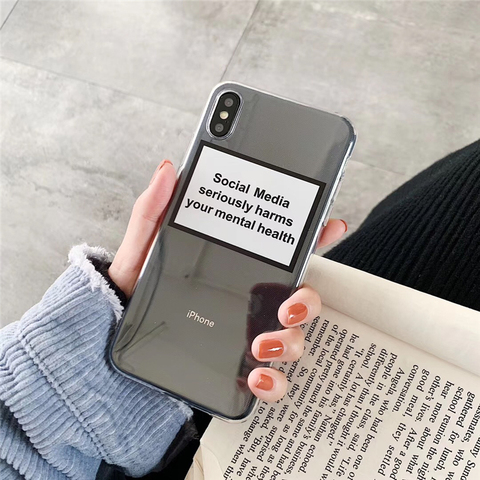 Social Media seriously harms your mental health Soft Silicone Phone Case For iphone 7 8 Plus 6 6s X XS Transparent Cover Case Karachi