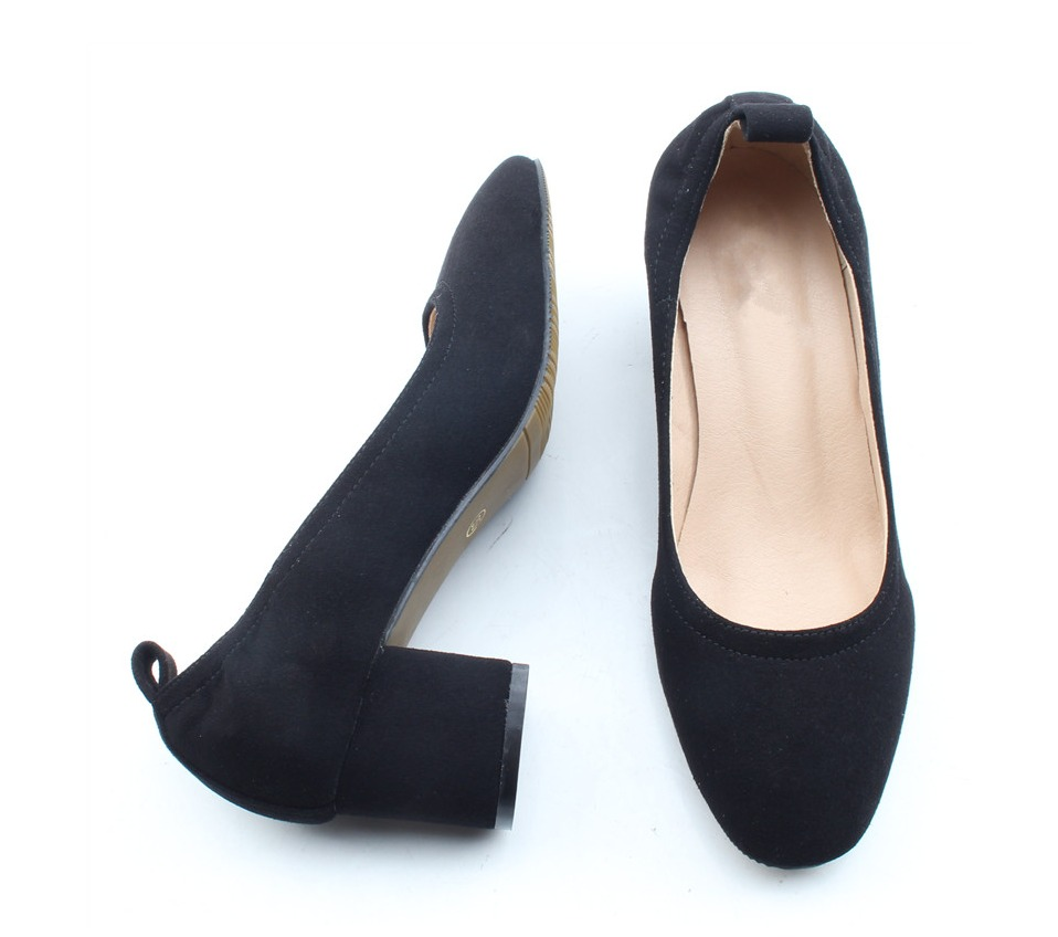 Shoes Women Genuine Leather Fashion Office and Career Rounded Toe 2-inch Block Heel Fashion Office Lady Pumps Size 34-41, K-307 75