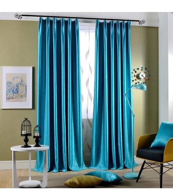 hoge kwaliteit actieve en verven pure kleur venster verduisteringsgordijn voor woonkamer slaapkamer blauw groen 2 kleur